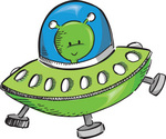 Cute Green Alien Flying a UFO Clipart Illustration
