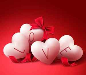 White Love Hearts with Ribbons and Bow for Valentines Day Greeti